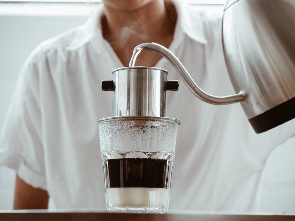 Add Hot Water to Phin Step by Step Vietnamese Coffee Guide