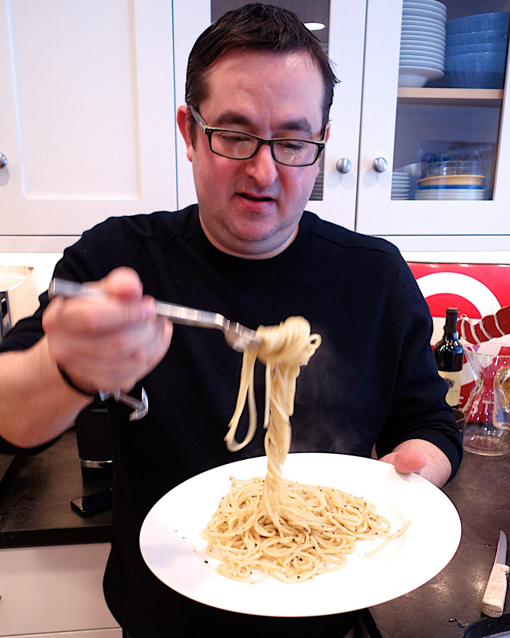 Chef Todd Stein enjoying Cacio e Pepe