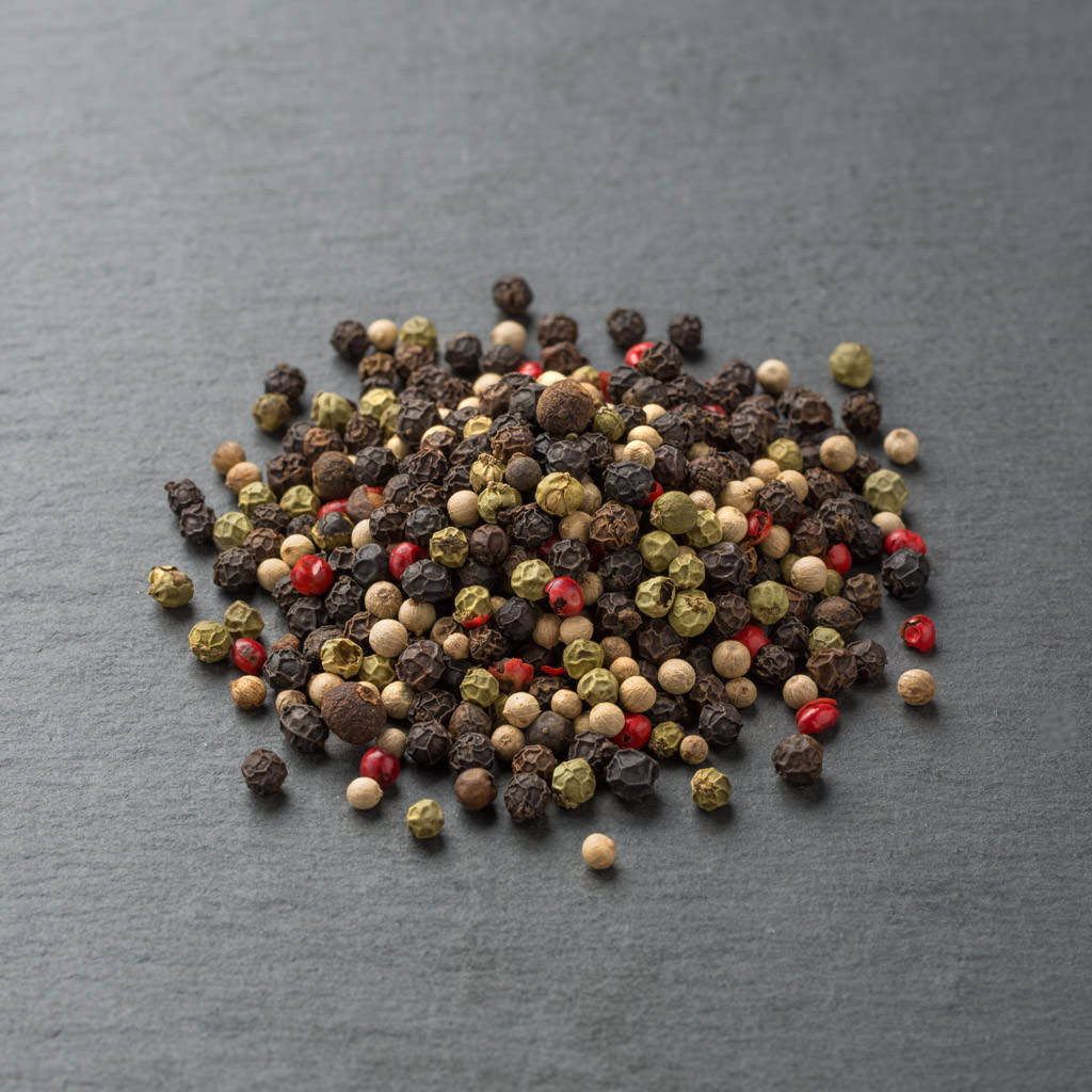Medley Mix 5 Peppercorn Blend featuring Black Tellicherry, Green, White and Pink Peppercorns, Allspice