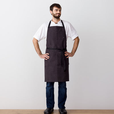 Chef's Apron, Charcoal with Black Straps, Men or Women-Reluctant Trading, model front view