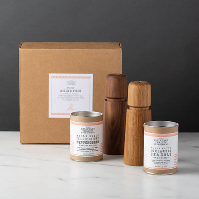 Jesper Mills and Fills Gift Box, Jesper Oak Salt and Dark Walnut Pepper Mills, Tellicherry Black Peppercorns, Icelandic Flaky White Sea Salt