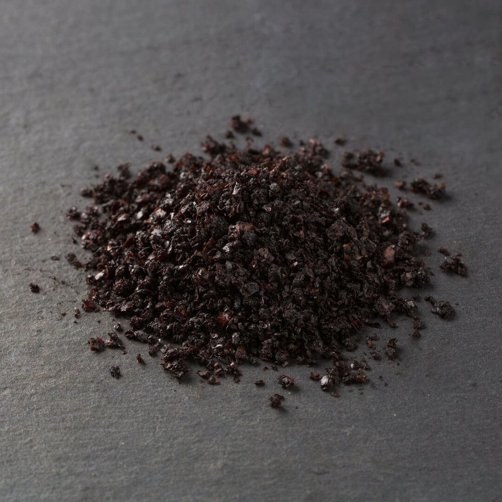 Urfa, Black, Cured Chili Flakes from Turkey (cured in salt and sunflower oil, moist, malty, chocolate notes)