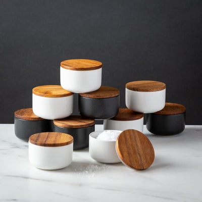 Stoneware Salt Cellar with Acacia Wood Lid White Black 2oz capacity