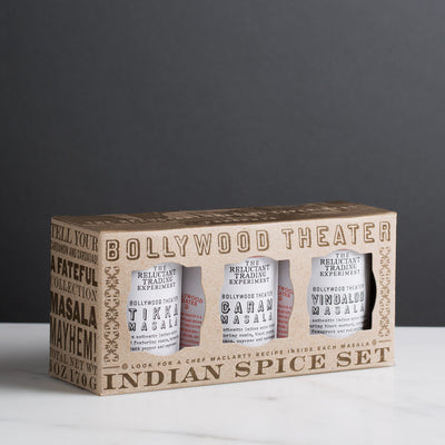 Bollywood Theater Authentic Indian Masala Spice Set features Garam Masala, Tikka Masala, Vindaloo Masala
