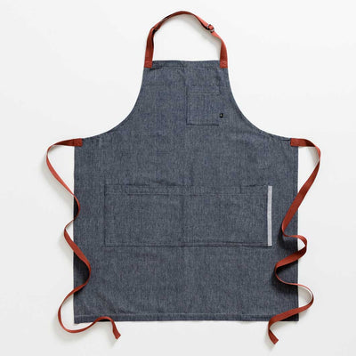 Blue Denim with Red Strap Chef Apron + Tellicherry Pepper & Icelandic Salt Gift Set