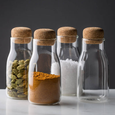 Modern Spice Jar with Cork Glass Kinto Bottlit