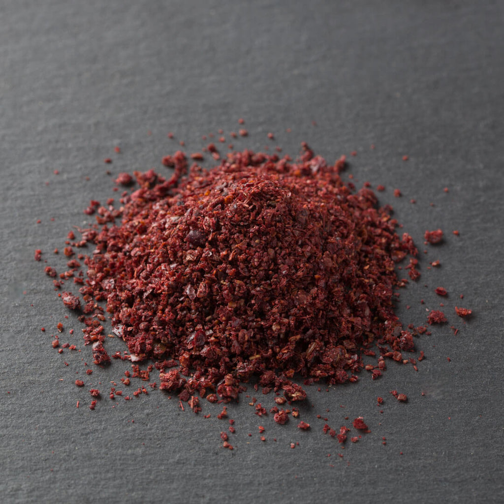 Sumac, Cured, from Turkey (chopped and cured in salt, moist, bright, salty, sour, slightly fermented)