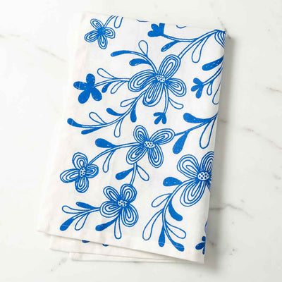 Graphic Floral Illustrated Tea Towel Blue Dish Towel