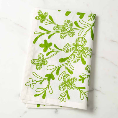 Graphic Floral Illustrated Tea Towel Green Dish Towel