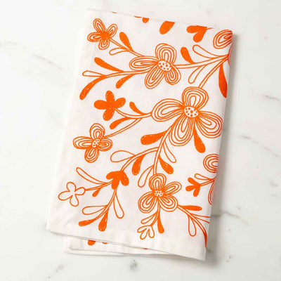 Graphic Floral Illustrated Tea Towel Orange Dish Towel