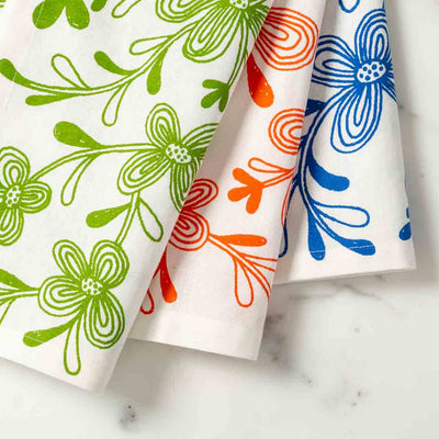 Graphic Floral Illustrated Tea Towel Dish Towel