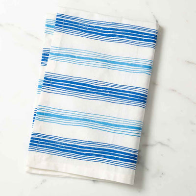 Graphic Stripe Illustrated Tea Towel Dk. Blue and Lt. Blue Dish Towel