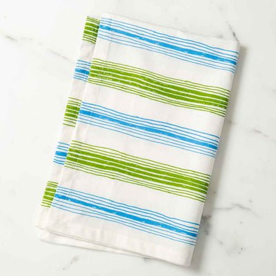 Graphic Stripes Illustrated Tea Towel Green and Lt. Blue Dish Towel