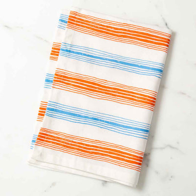 Graphic Stripes Illustrated Tea Towel Orange and Lt. Blue Dish Towel