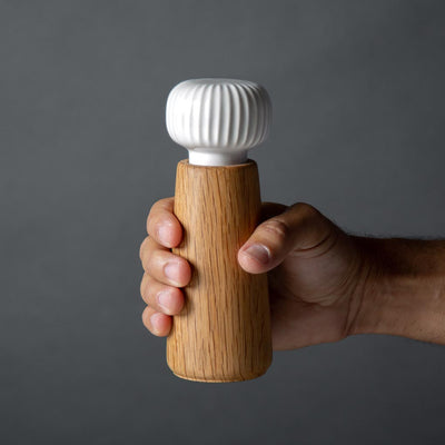 Danish Modern Salt or Pepper Mill Grinder, Kahler, Sven, White Ceramic and Oak Wood