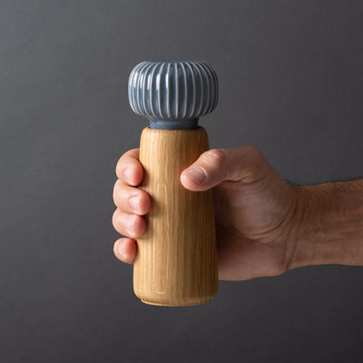 Danish Modern Pepper Mill Grinder, Kahler, Slate Gray Ceramic and Oak Wood