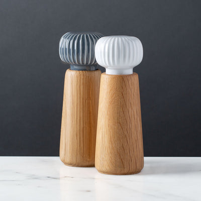 Modern Salt and Pepper Mill Set, Oak Wood, Hans-Christian Bauer, Kahler