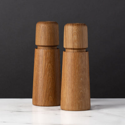 Set of Salt and Pepper Modern Set of Oak Walnut CrushGrind Grinders