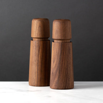 Modern Salt or Pepper Mill Danish Design Walnut Set CrushGrind