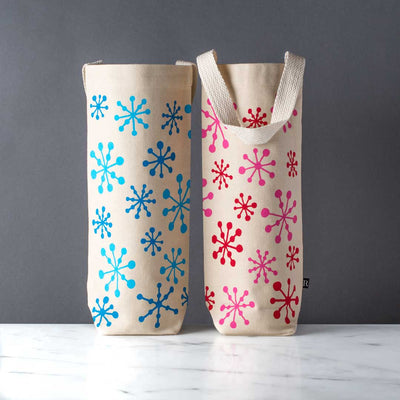 modern wine bag snowflake holiday design canvas