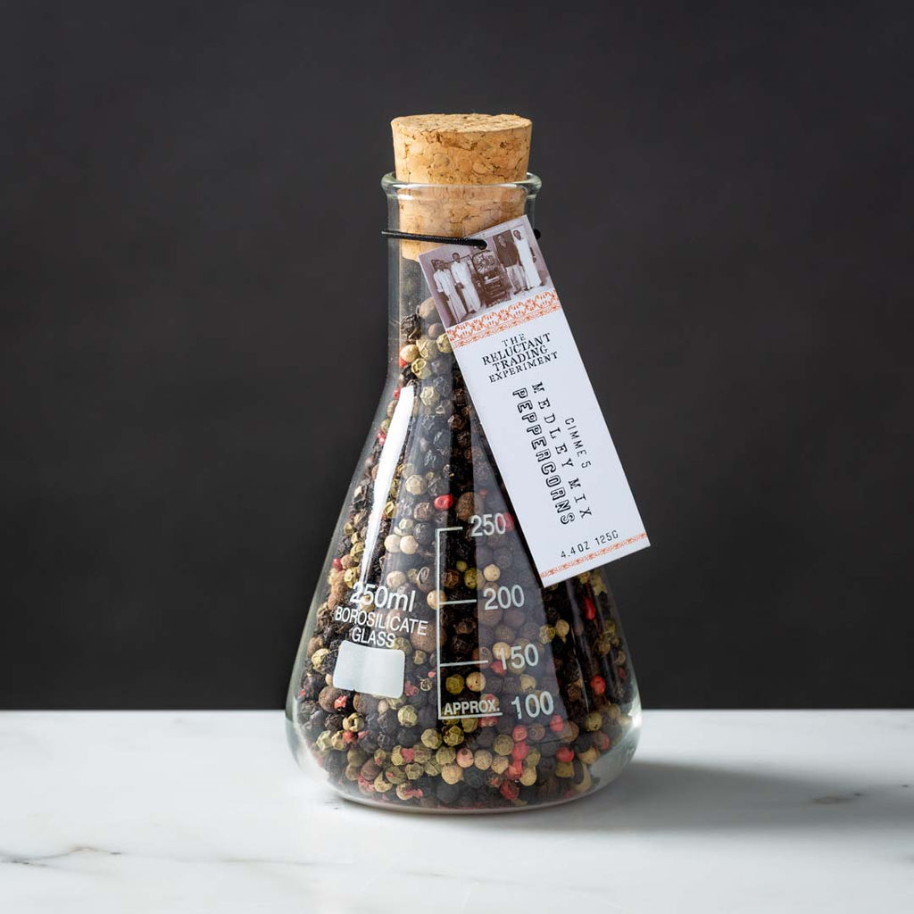 Medley Peppercorn Mix in Glass Science Flask