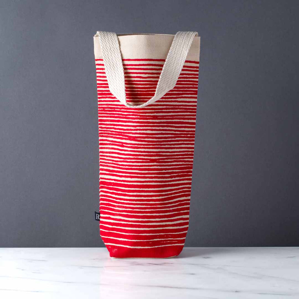 wine gift bag tote canvas modern graphic print stripes red
