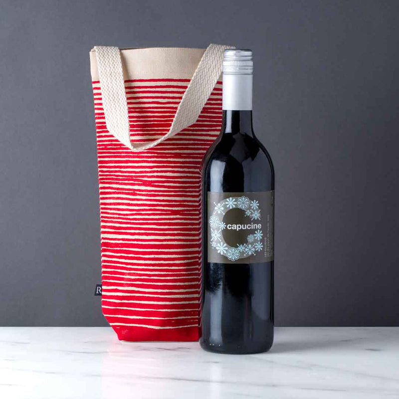Wine Gift Tote, Canvas, Seasonal Stripes
