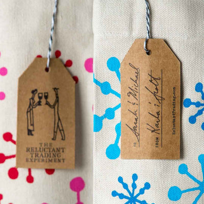 Wine Gift Tote, Canvas, Seasonal Snowflakes