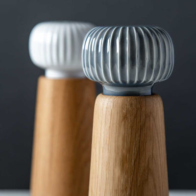 Modern Danish Salt and Pepper Mill Set, Oak Wood, Hans-Christian Bauer, Kahler