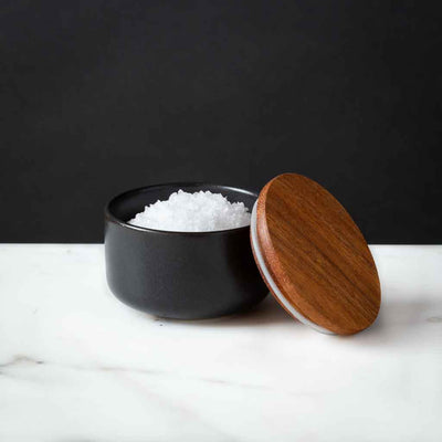 Black Stoneware Salt Cellar Be Home Acacia Lid 2oz capacity