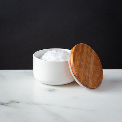 White Stoneware Salt Cellar Acacia Lid 2oz capacity Be Home