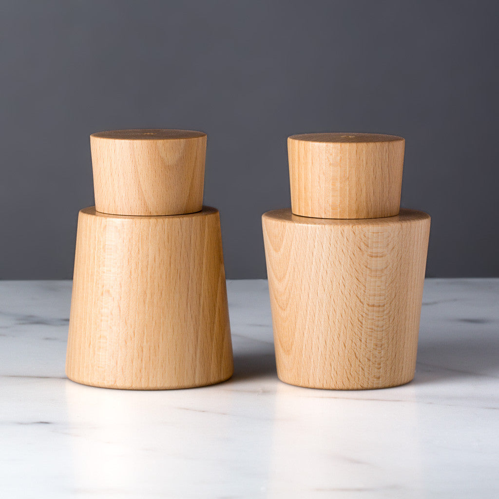 modern salt and pepper mill set swedish design – the reluctant  - czech czech salt and pepper mill