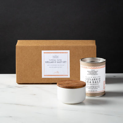 Getting Salty Gift Box White Stoneware Salt Cellar with Acacia Lid and 4oz Tube of Icelandic Flaky White Sea Salt