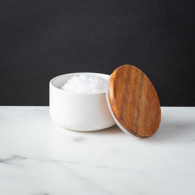 White Stoneware Salt Cellar Small Container Acacia Lid