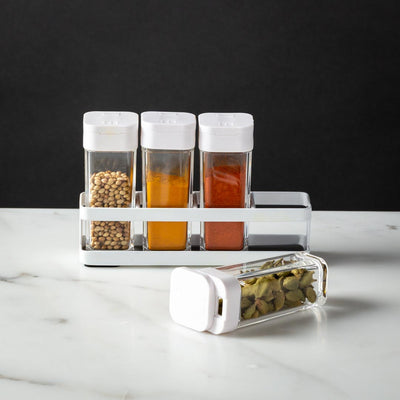 Clean and Simple Steel Spice Rack with 4 Jars