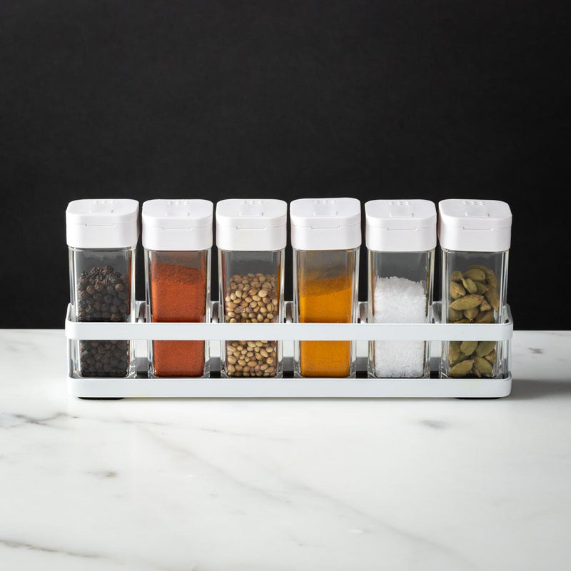 Clean and Simple Steel Spice Rack with 6 Jars White