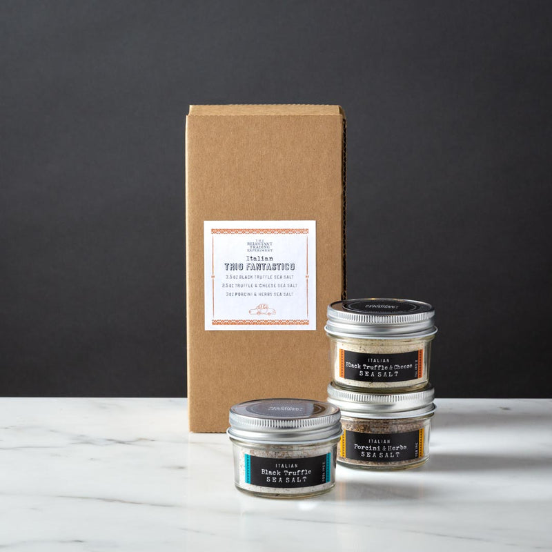 Italian Sea Salt Gift Box, Black Truffle Sea Salt, Black Truffle Sea Salt with Parmesan Cheese, Porcini and Herb Sea Salt