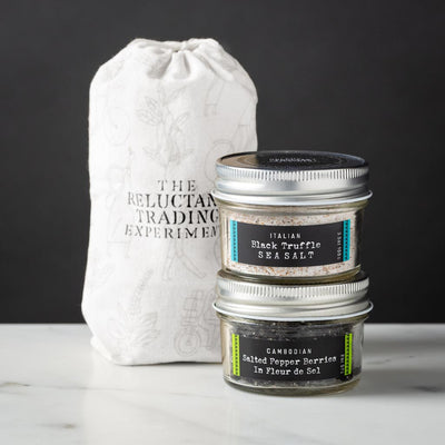 Cambodian Salted Pepper Berries in Fleur del Sel 2oz Glass Jar and Italian Black Truffle Sea Salt 3.5oz Glass Jar Gift Set