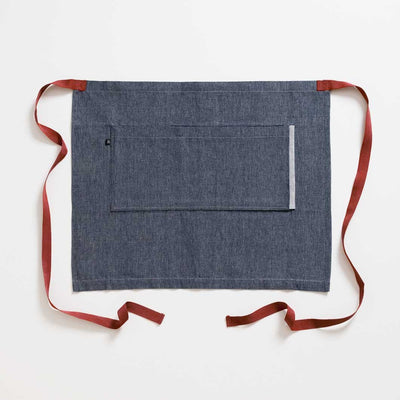 Bistro Apron, Blue Denim with Dark Red Straps, Half Apron, Reluctant Trading