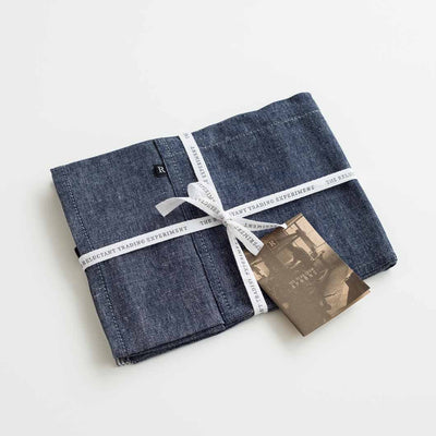 Blue Denim Apron, Packaged in Branded Cloth Tape for gift giving, Reluctant Trading