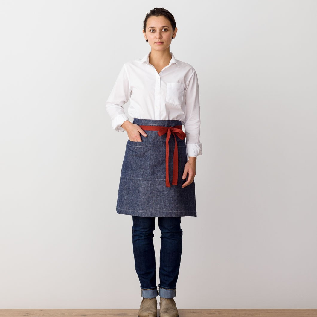 Bistro Apron, Server, Blue Denim with Dark Red Straps, Half Apron, Reluctant Trading