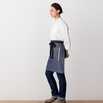 Bistro Apron, Server, Blue Denim with Black Straps, Half Apron, Server, Reluctant Trading