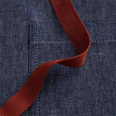 Bistro Apron, Server, Blue Denim with Red Straps, Detail Shot, Half Apron, Server, Reluctant Trading