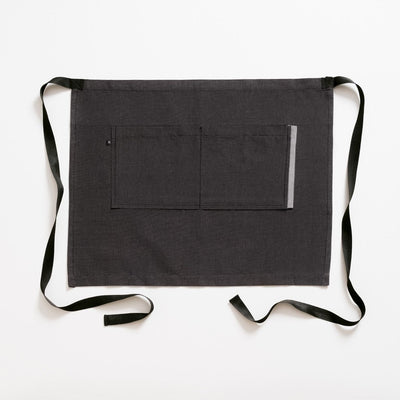 Bistro Apron, Charcoal Black with Black Straps, Half Apron, Server, Reluctant Trading