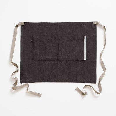 Bistro Apron, Charcoal Black with Tan Straps, Half Apron, Server, Reluctant Trading