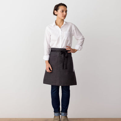 Bistro Apron on Model, Charcoal Black with Black Straps, Half Apron, Server, Reluctant Trading