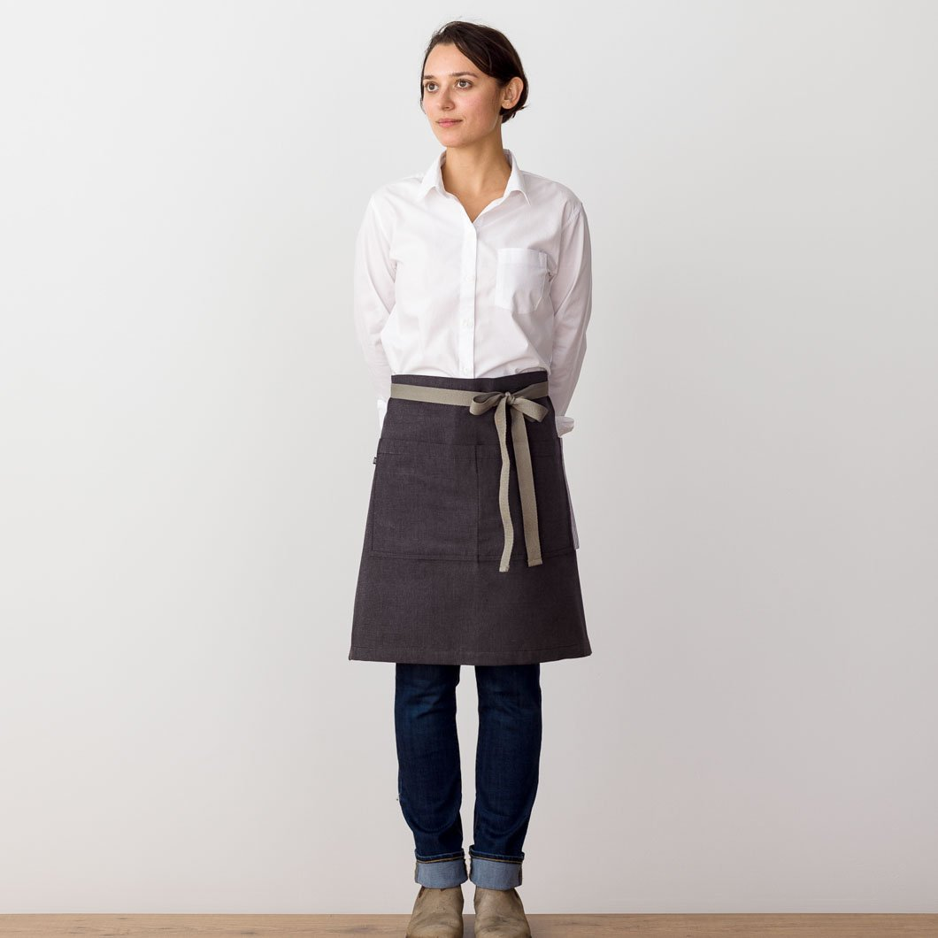 Bistro Apron on Model, Charcoal Black with Tan Straps, Half Apron, Server, Reluctant Trading