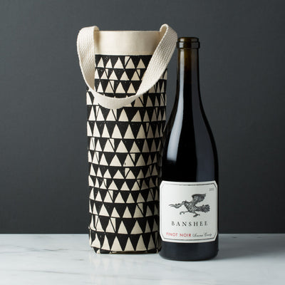wine gift bag tote canvas retro modern graphic print zigzag black