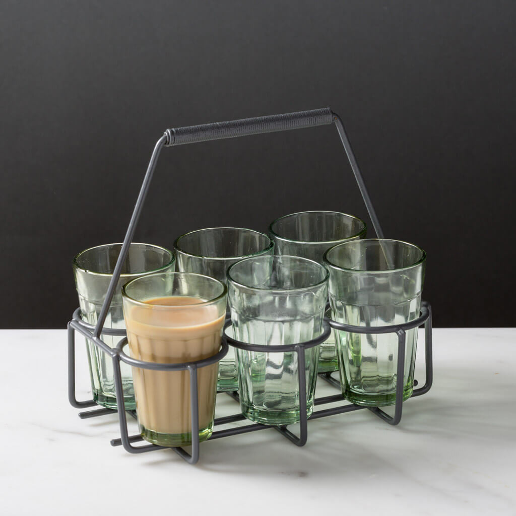 Chai Tea Carrier and 6 Glass Set