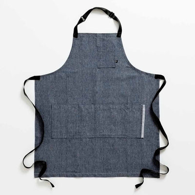 Chef 's Apron, Blue Denim with Black Straps, Men or Women-The Reluctant Trading Experiment